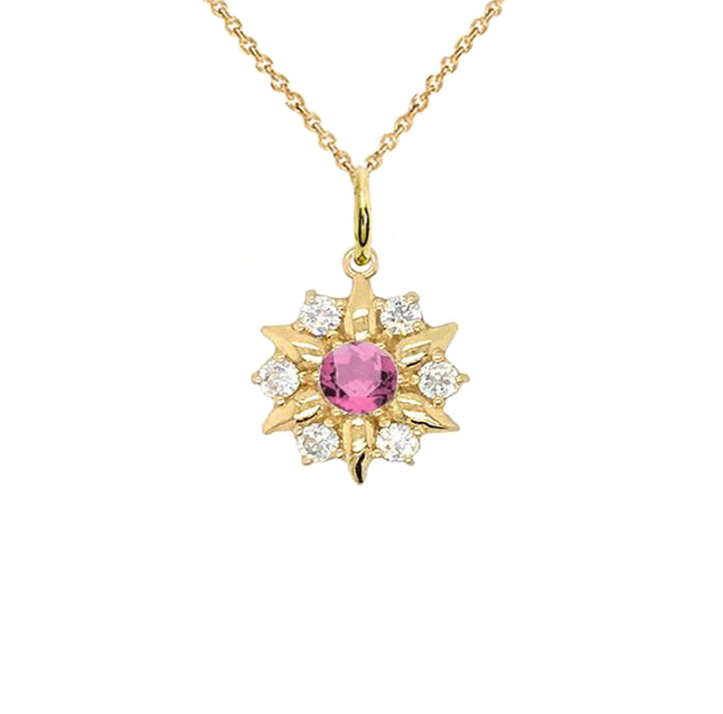 North Star Designer June Birthstone and White Topaz Pendant Necklace in Gold