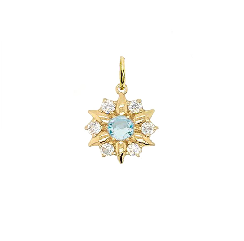 North Star Designer Genuine Aquamarine and White Topaz Pendant Necklace in Solid Gold