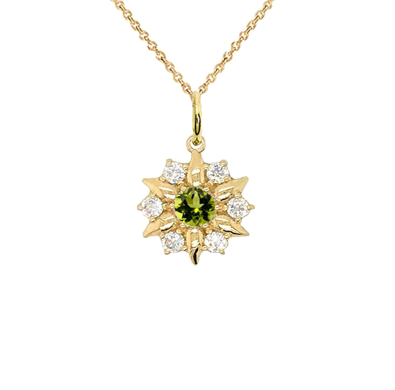 North Star Designer Peridot and White Topaz Pendant Necklace in Gold