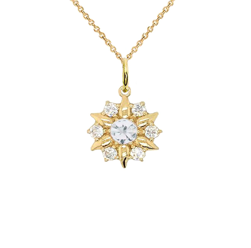 North Star Designer White Topaz Pendant Necklace in Solid Gold
