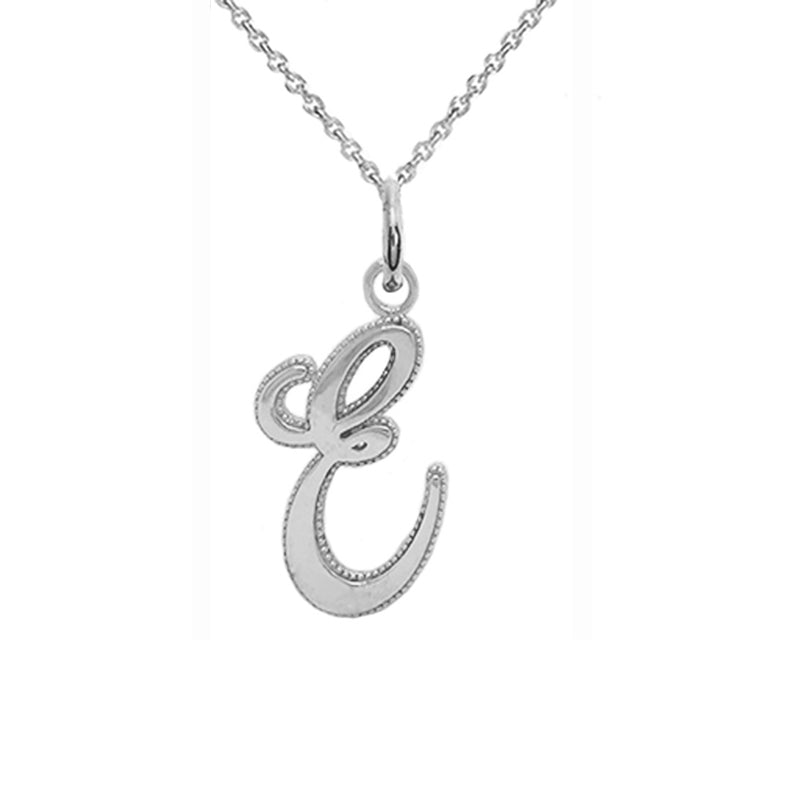 sterling silver letter e necklace