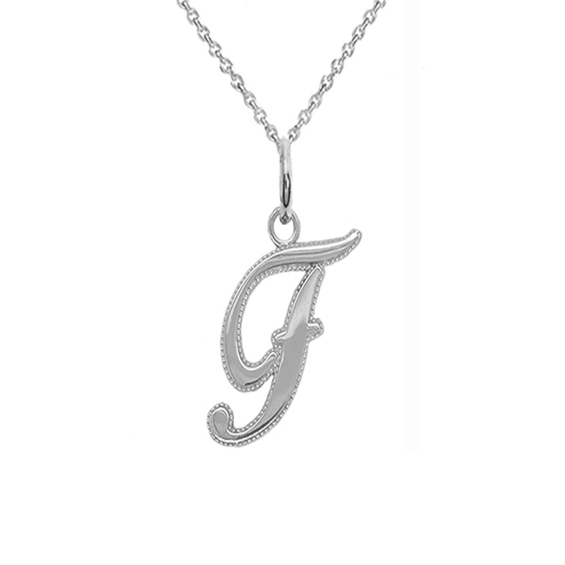 f initial silver pendant