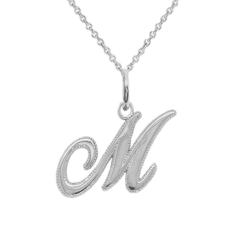 sterling silver m initial necklace