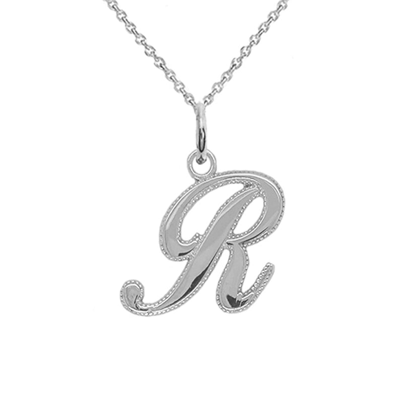 initial r pendant necklace