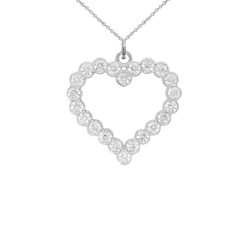 Open Heart CZ-Studded Charm Pendant Necklace in Solid Sterling Silver