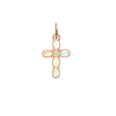 Gold Cross Pendant Necklace with Simulated Opal