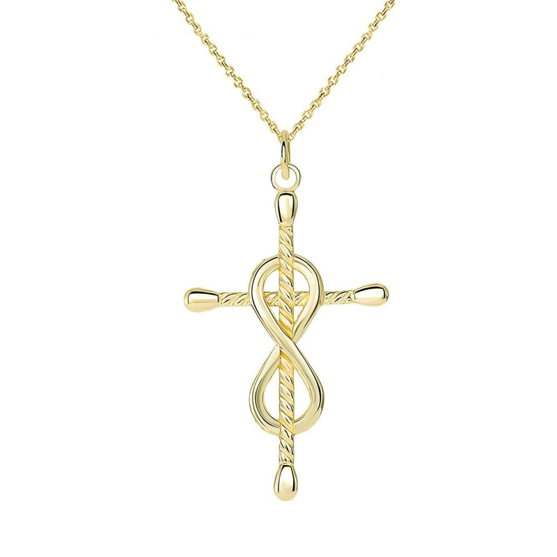 Dainty Infinity Rope Style Cross Pendant/Necklace in Solid Gold