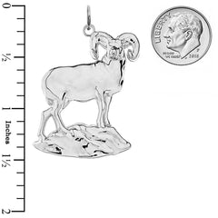 Aries Zodiac Totem Animal Ram In Solid Sterling Silver Pendant/Necklace
