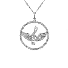 Treble Clef Musical Note Round Rope-Style Pendant Necklace in Sterling Silver