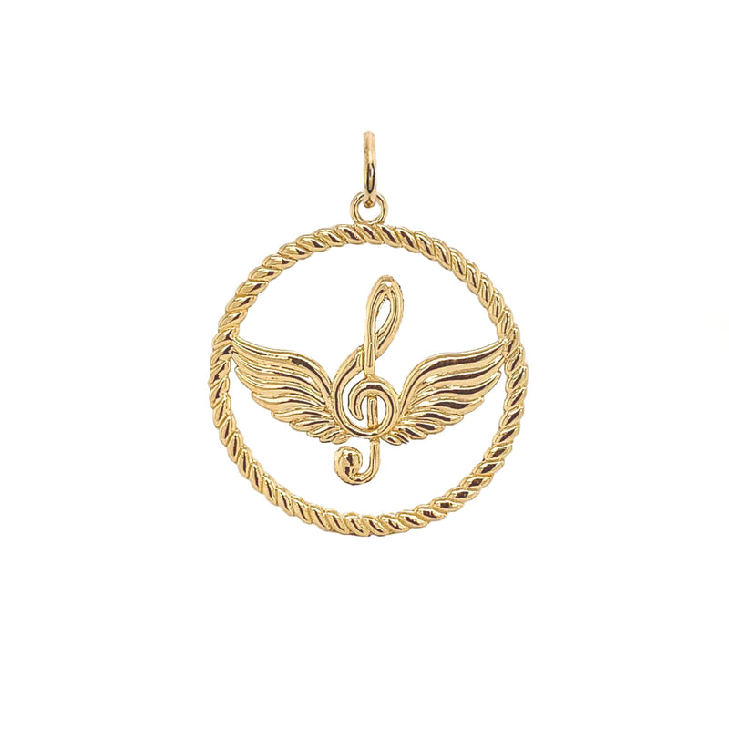 Solid Gold Treble Clef Musical Note Round Rope-Style Pendant Necklace