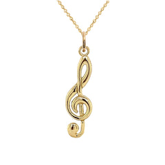 Solid Gold Treble Clef Musical Note Pendant Necklace (Large)