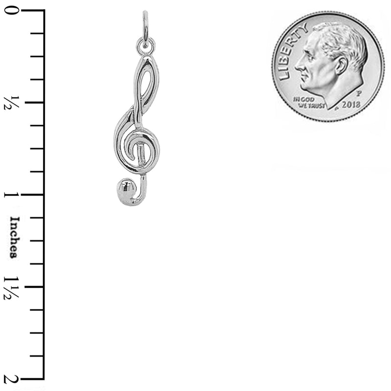Treble Clef Musical Note Pendant Necklace in Sterling Silver (Small)