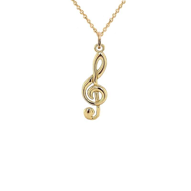 Solid Gold Treble Clef Musical Note Pendant Necklace (Small)