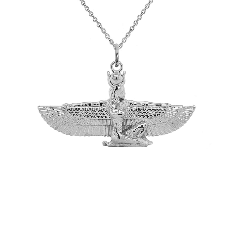 Hathor Egyptian Goddess Pendant Necklace in Sterling Silver