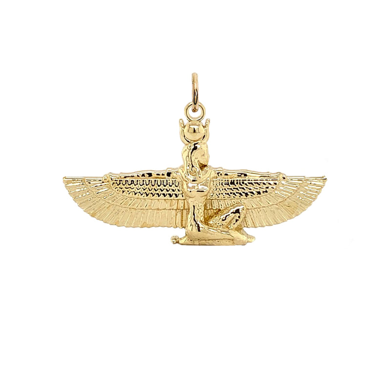 Solid Gold Hathor Egyptian Goddess Pendant Necklace