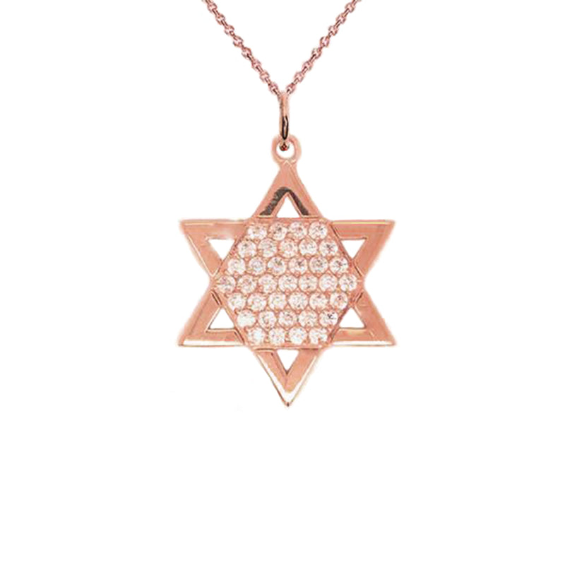 Elegant Jewish Star of David Diamond Pendant Necklace in Solid Gold