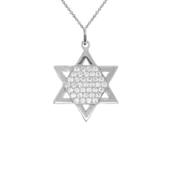 Jewish Star of David with CZ Pendant Necklace in Solid Gold