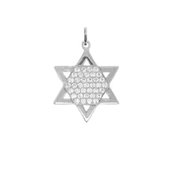 Jewish Star of David with CZ Stones Pendant Necklace in Sterling Silver