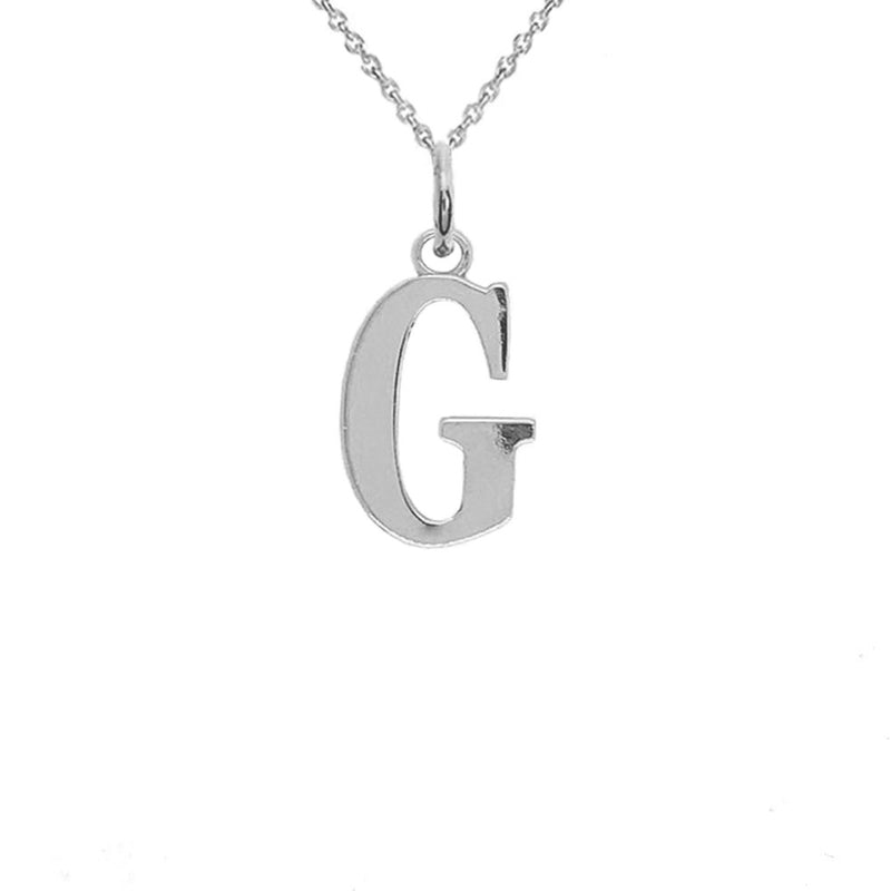 "Letter ""G"" Initial Pendant Necklace in Sterling Silver"
