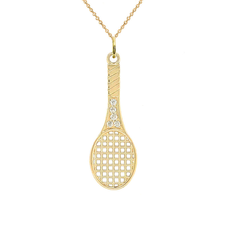 Tennis Racket Diamond Sports Pendant Necklace in Gold