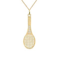 Tennis Racket CZ Sports Charm Pendant Necklace in Gold