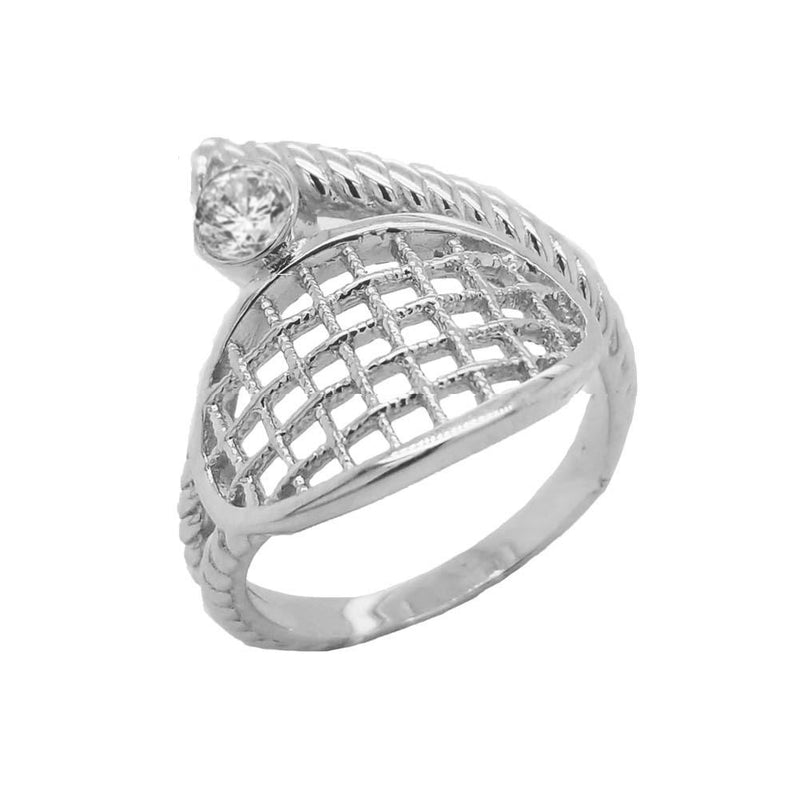 Tennis Racquet Rope Ring In Sterling Silver