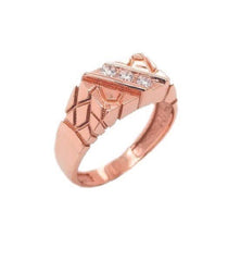 Diamond Nugget Ring in Solid Rose Gold