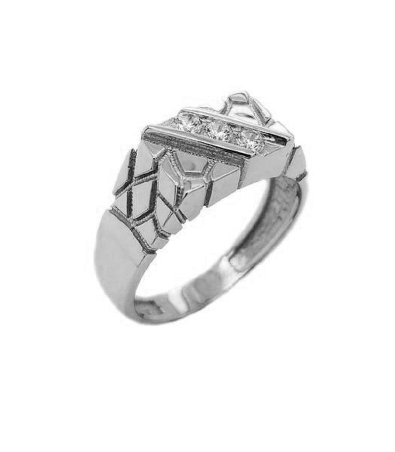 Diamond Nugget Ring in Solid White Gold