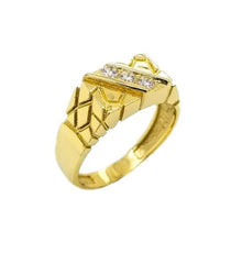 Diamond Nugget Ring in Solid Yellow Gold