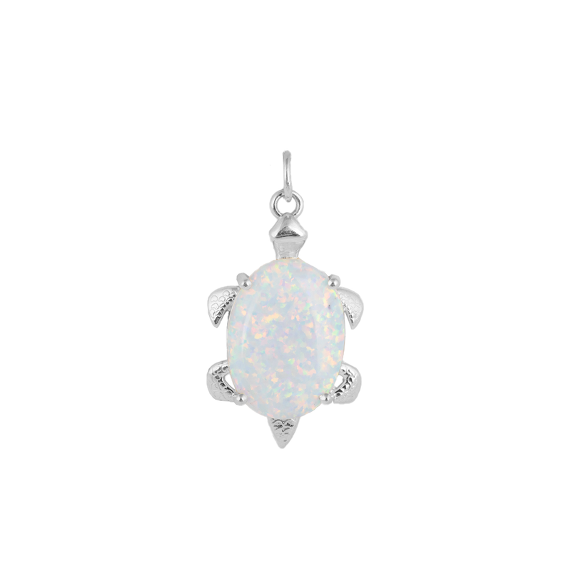 Simulated Opal Turtle Pendant Necklace in Sterling Silver