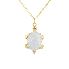 Simulated Opal Turtle Pendant Necklace in Solid Gold