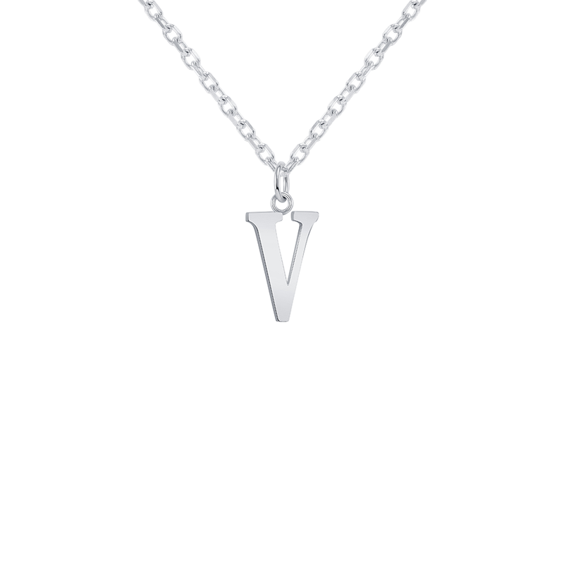 "Customizable Initial ""V"" Pendant Necklace in Sterling Silver"