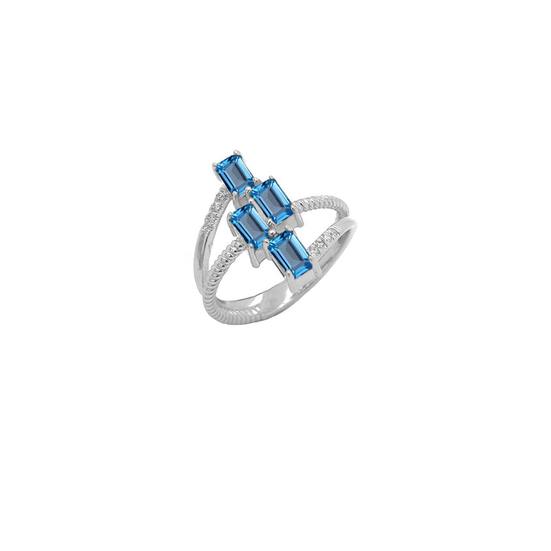 Sterling Silver Diamond & Emerald Cut Genuine Blue Topaz Rope Statement Ring