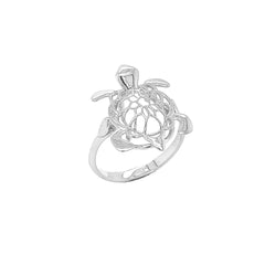 Turtle Statement Ring in Solid Sterling Silver