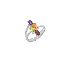 Sterling Silver Diamond & Emerald Cut Mixed Stones Rope Statement Ring