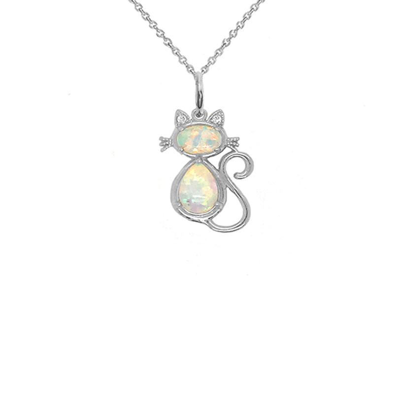Cat Pendant/Necklace with White Stones and Diamonds in Solid Gold