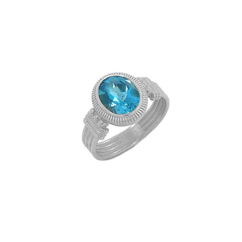 Milgrain Blue Topaz Statement Ring in Sterling Silver