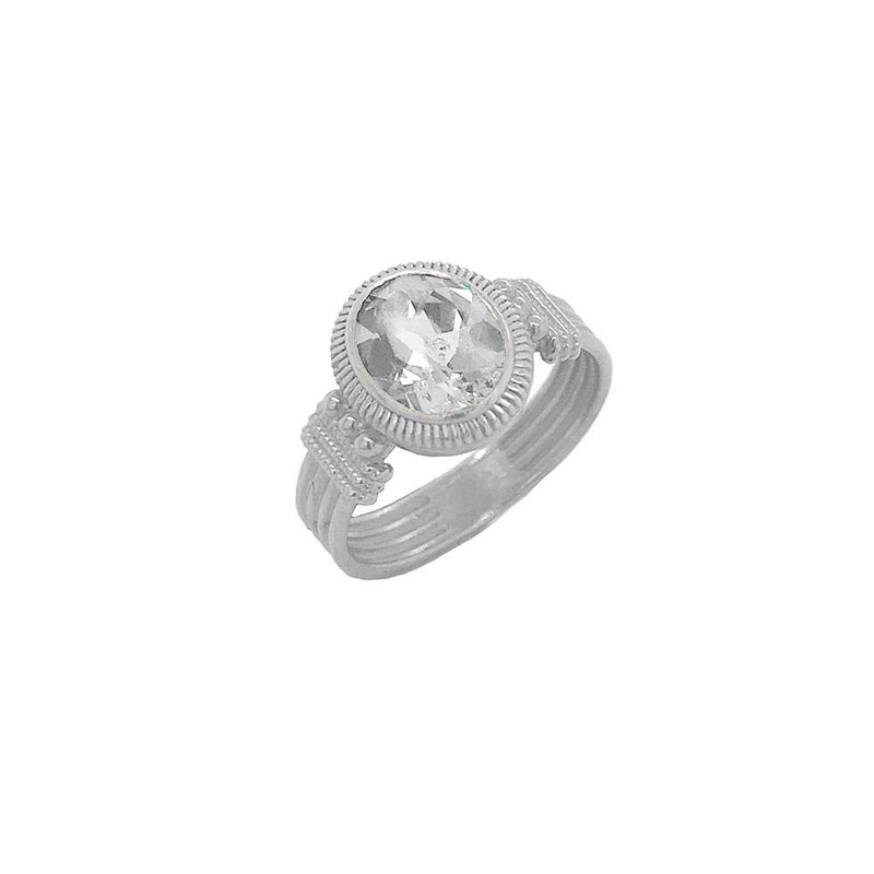Milgrain Diamond Statement Ring in Sterling Silver
