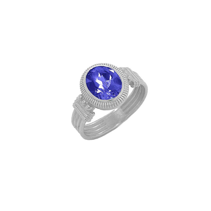 Milgrain Lab Created Blue Sapphire Statement Ring in Sterling Silver
