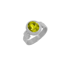 Milgrain Citrine Statement Ring in Sterling Silver