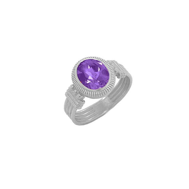 Milgrain Amethyst Statement Ring in Solid Gold