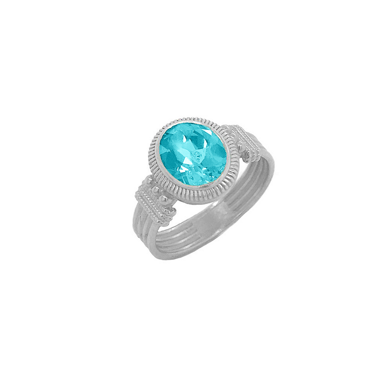 Milgrain Aquamarine Statement Ring in Sterling Silver
