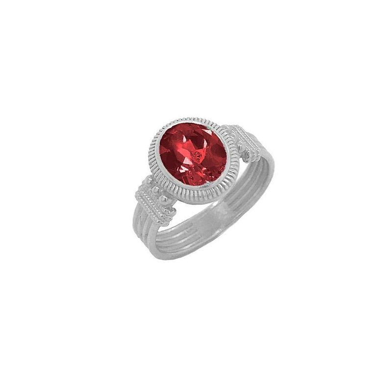 Milgrain Garnet Statement Ring in Sterling Silver