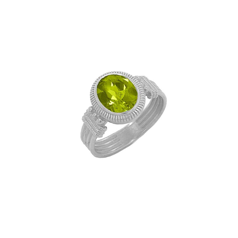 Milgrain Peridot Statement Ring in Sterling Silver