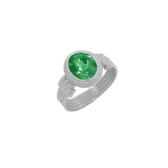 Milgrain Emerald Statement Ring in Sterling Silver