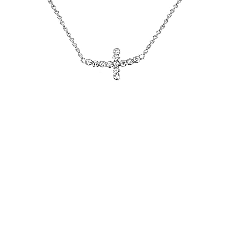 Dainty Diamond Sideways Cross Necklace in Sterling Silver