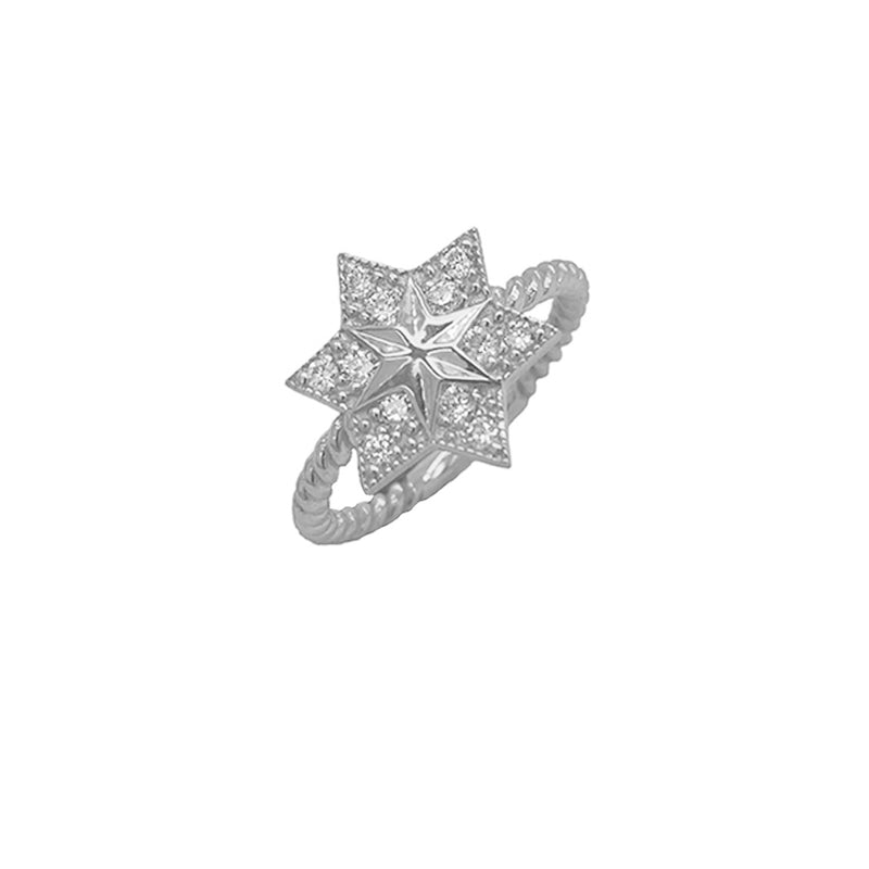 Jewish Star of David Statement Ring in White Gold with CZs
