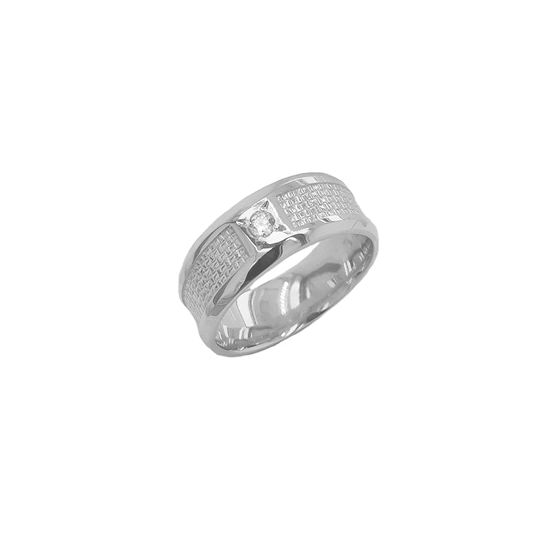 Modern Diamond 7.5 mm Wedding Band Ring in Solid White Gold