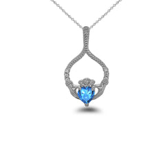 Claddagh Diamond & Blue Topaz Rope Design Pendant/Necklace in Sterling Silver