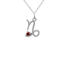 Capricorn Zodiac January Birthstone Genuine Garnet Pendant Necklace in Sterling Silver